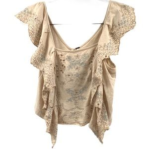 Free People Embroidered Eyelet Top